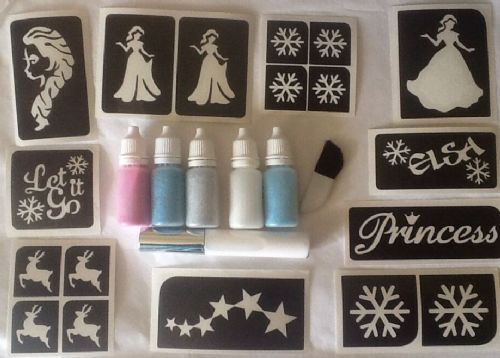 FROZEN THEME GLITTER TATTOO KIT LET IT GO REINDEER ELSA ICE PRINCESS - 90 tats